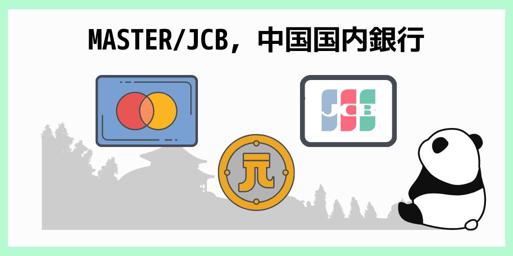 中国国内銀行のMASTER/JCB