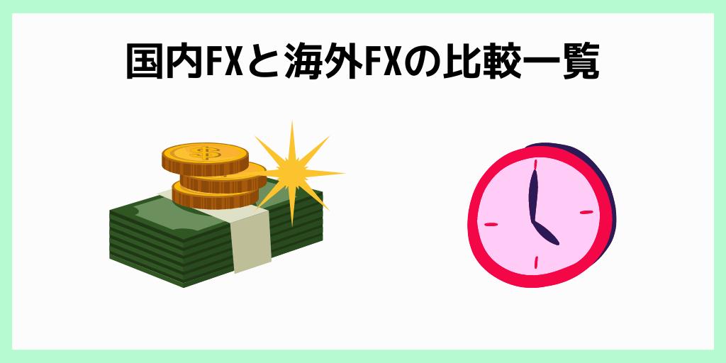 国内FXと海外FXの比較一覧